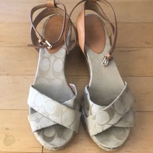 COACH Tan Monogram Adj Ankle (Straps)Wedge Sandals